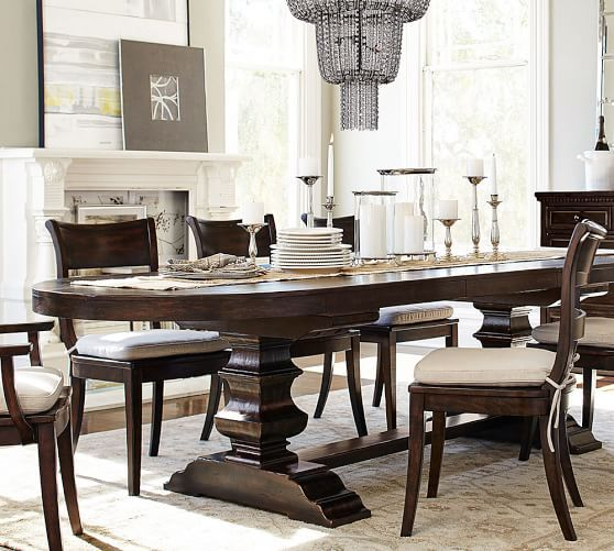 Love This Pottery Barn Banks Oval Dining Table And Chandelier Room
