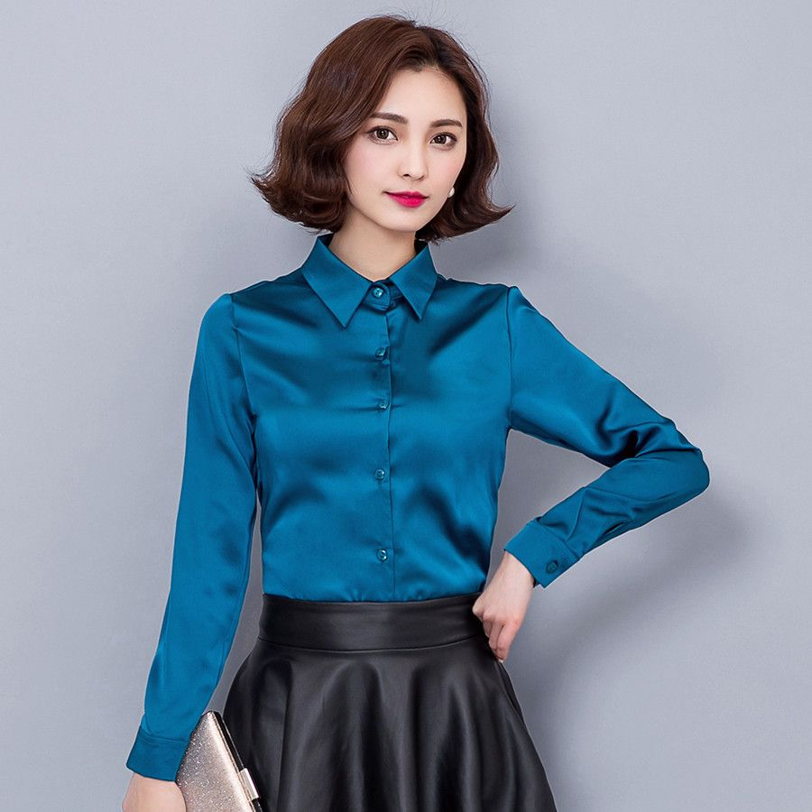 2016 New Lapel Slim Stretch Silk Satin Shirts Women Blouses Blue ...