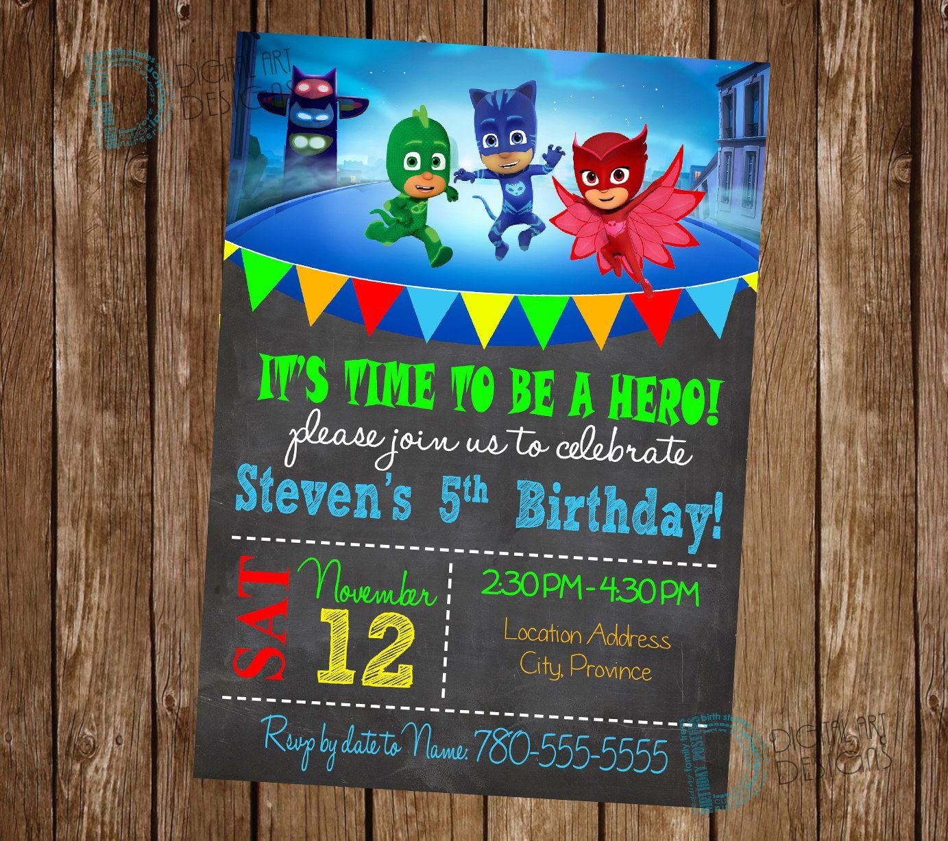 PJ masks birthday invitation - PJ masks Birthday - PJ masks Birthday ...