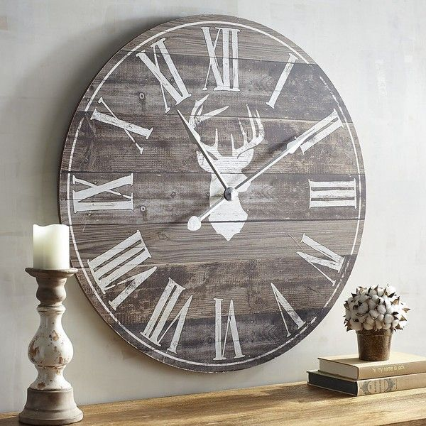 Pier 1 Imports Brown Deer Silhouette Wall Clock 80 Liked On Polyvore Featuring Home Home Decor Clocks Unique Wall Clocks Oversized Wall Clock Wall Clock