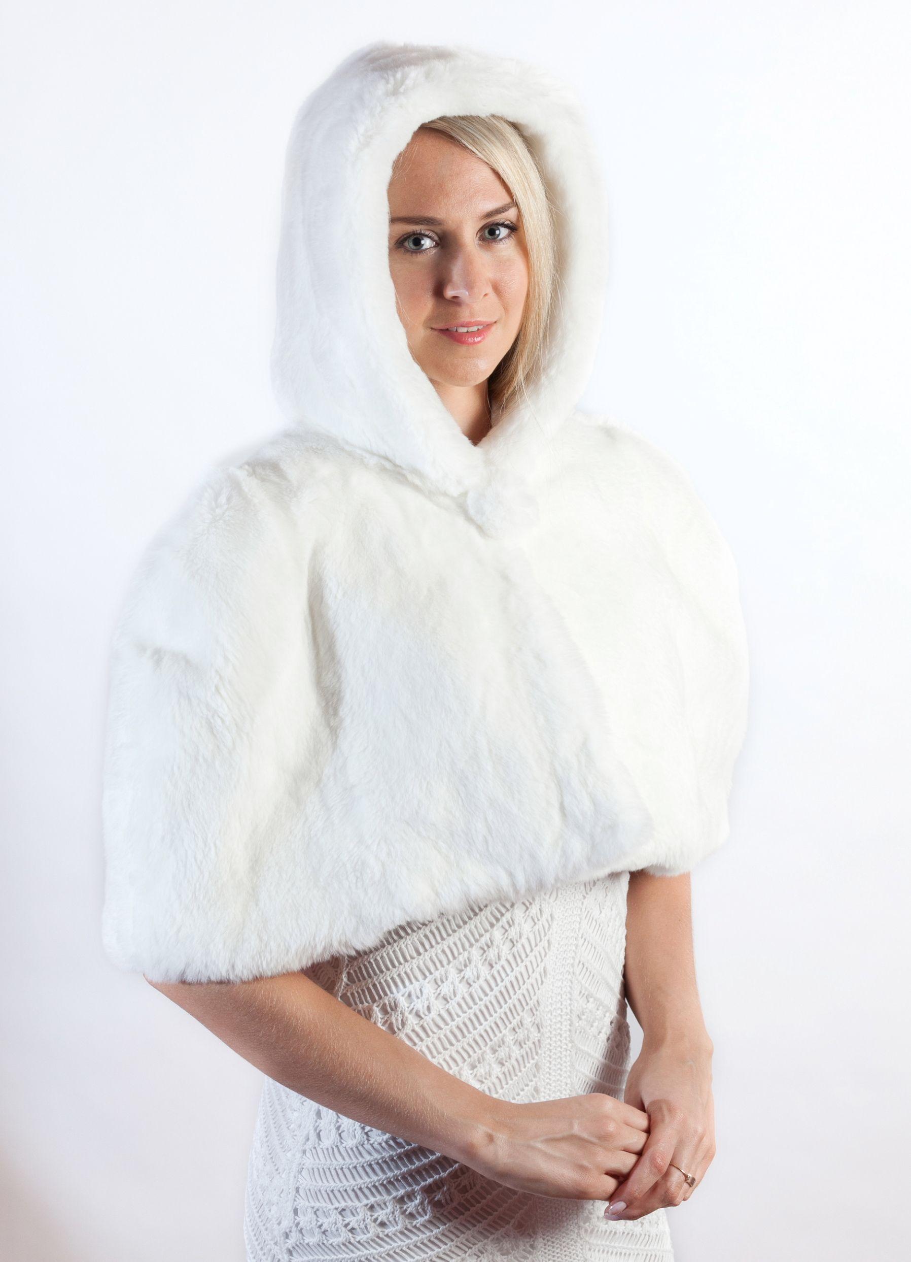competitive price ac1a5 2c1cd Elegante coprispalle in pelliccia in soffice rex bianco ...