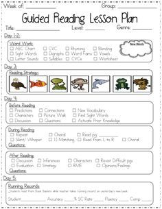 Guided Reading Lesson Plan Templates  For School