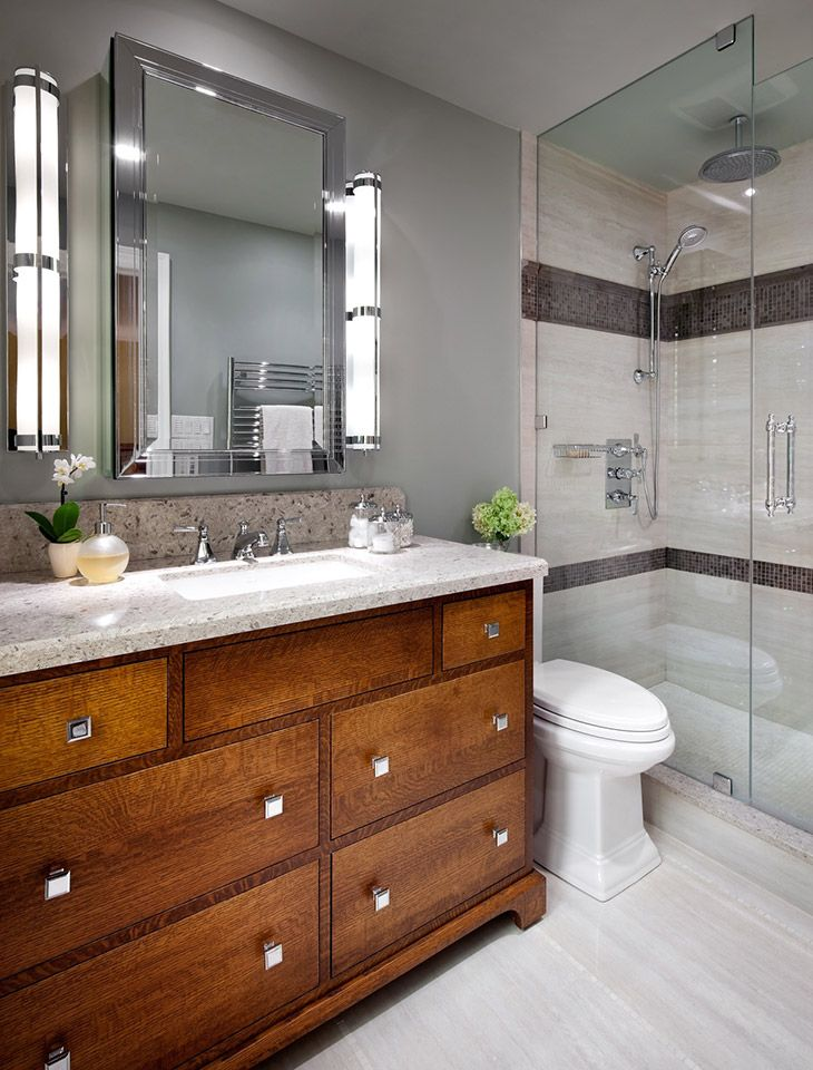 Jane Lockhart Interior Design Bathroom With Wood Cabinetry And