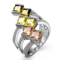Romantic Colorful Multicolor Engagement Crystal Rings SWA Element Austrian Crystal Women Rings Jewelry For Women