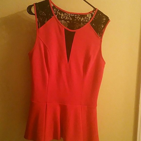 Blouse Red with black lace insets peplum blouse. Allen B Tops Blouses
