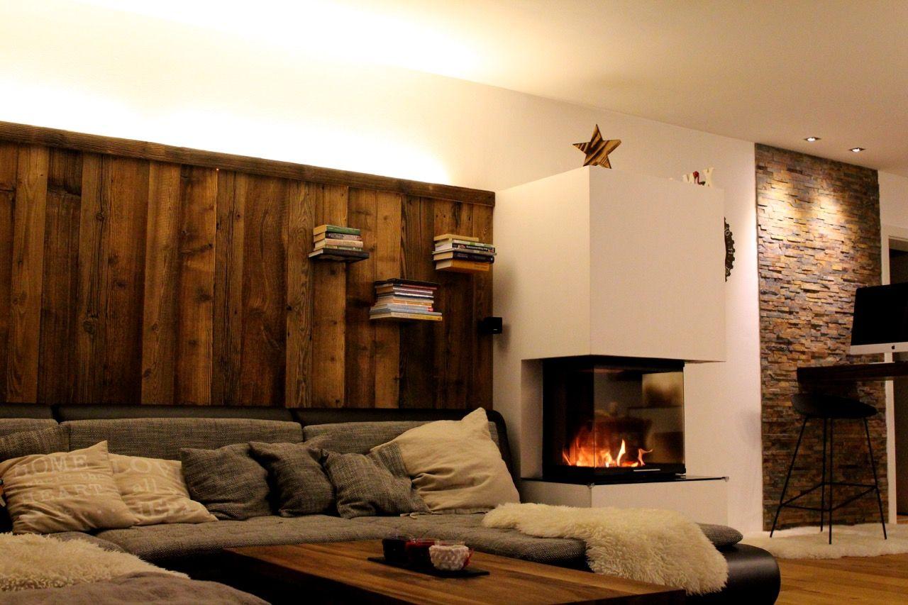 wohnzimmer einrichten kamin : Kundenprojekte Brenners Altholz Wandverkleidung Pinterest