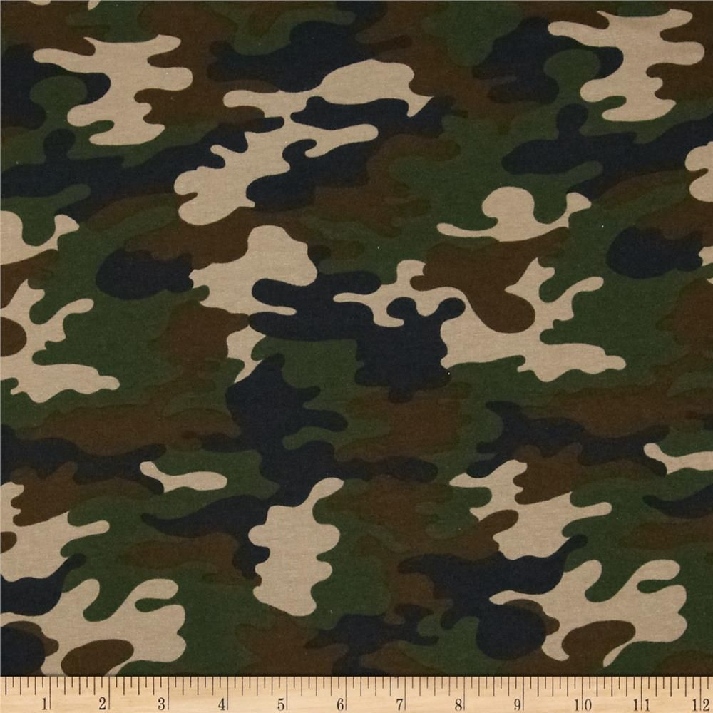 Kaufman Laguna Stretch Jersey Knit Camouflage Nature Green Knit Jersey Camouflage Camo Patterns
