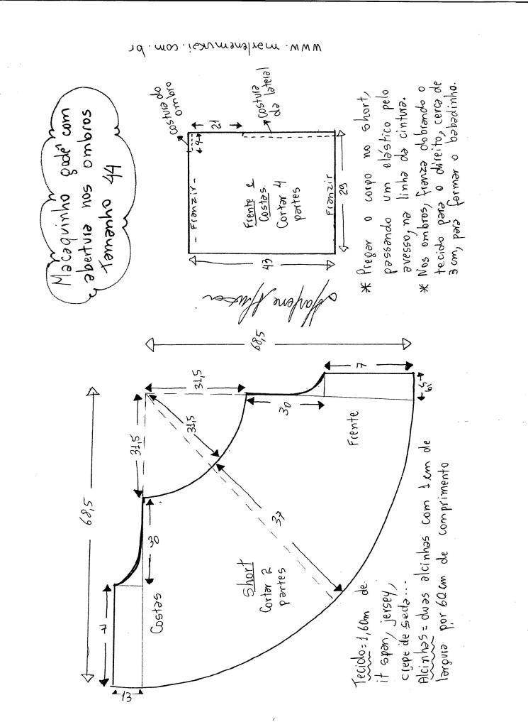 832e2647c40 Esquema de montagem do macaquinho godê tamanho 44.   molde macaquito ...