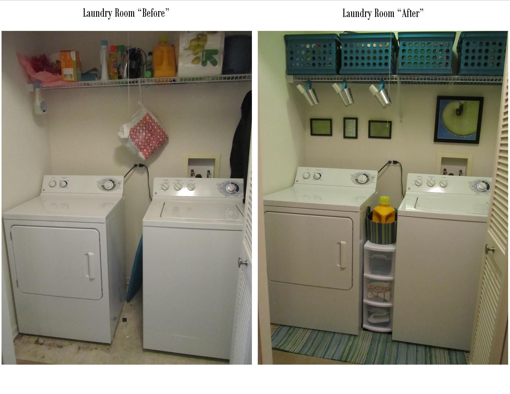 Laundry Room Before And After $350 Crates & $1 Tin