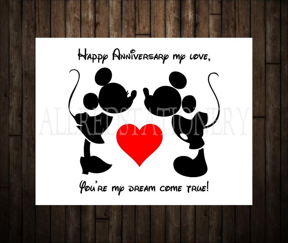 Mickey and minnie wedding annivesary card disney
