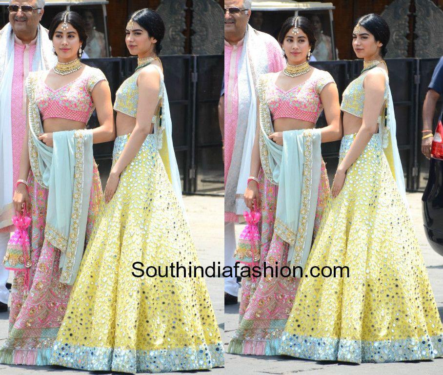 Janhvi And Khushi In Manish Malhotra At Sonam Kapoor S Wedding South India Fashion Indian Wedding Outfits Manish Malhotra Bridal Manish Malhotra Saree