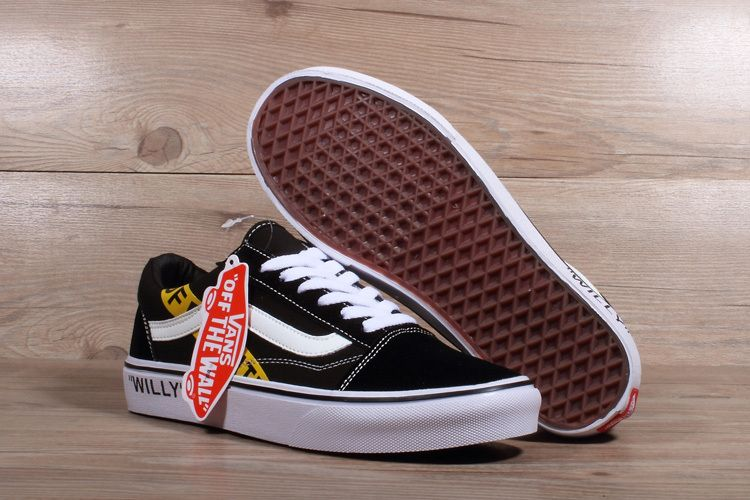 96b372cae9 2018 Really Cheap Unisex OFF WHITE x Vans Old Skool Willy Black Yellow White  Skateboard Shoe