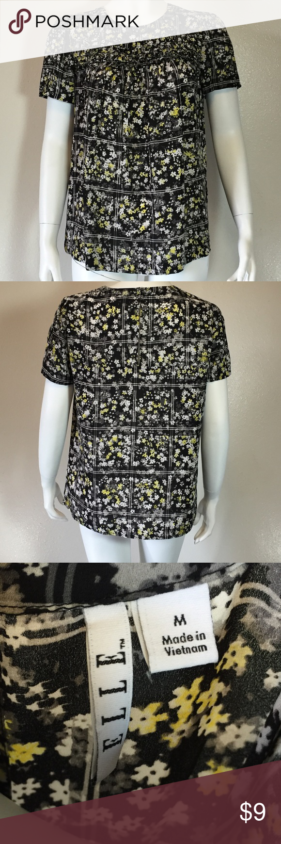 ELLE sheer floral top Excellent condition. Has cute ruffling detail at the chest area. elle Tops Blouses