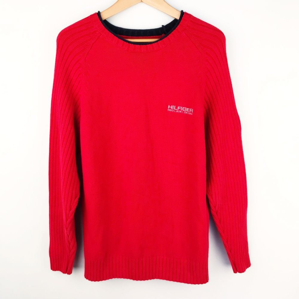 4df094733c Tommy Hilfiger Mens Sweater Shirt Cotton Red Label Denim Knit Logo Vintage M  G14