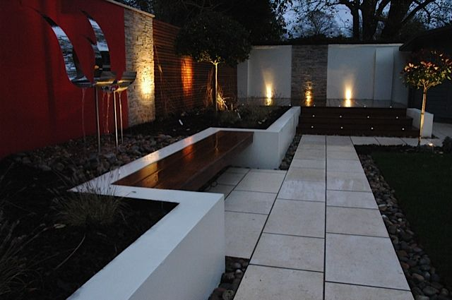 Red feature wall outdoor outside area entertaining gorgeous