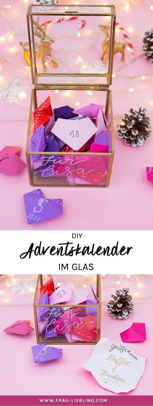 Adventskalender im Glas basteln mit 3D Origami Herzen