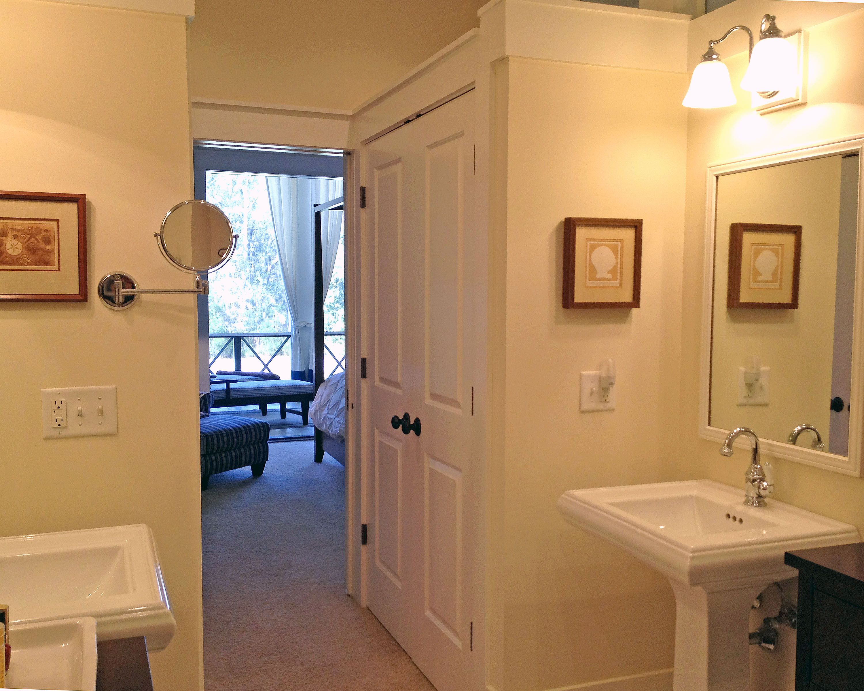 Master Bathrooms Are Accessed By Walk Through Closets That Can Be Enclosed  By Decorative Curtain Or Custom Doors.