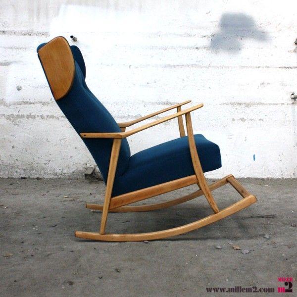 fauteuil bascule vintage bleu mille m2 en 2019. Black Bedroom Furniture Sets. Home Design Ideas