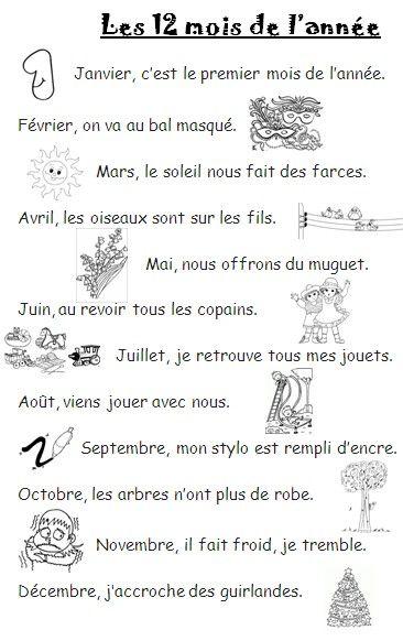La Chanson Des Douze Mois : chanson, douze, POESIE, (DOUZE), L'ANNEE, Iconito, Franse, Taal,, Frans,, School