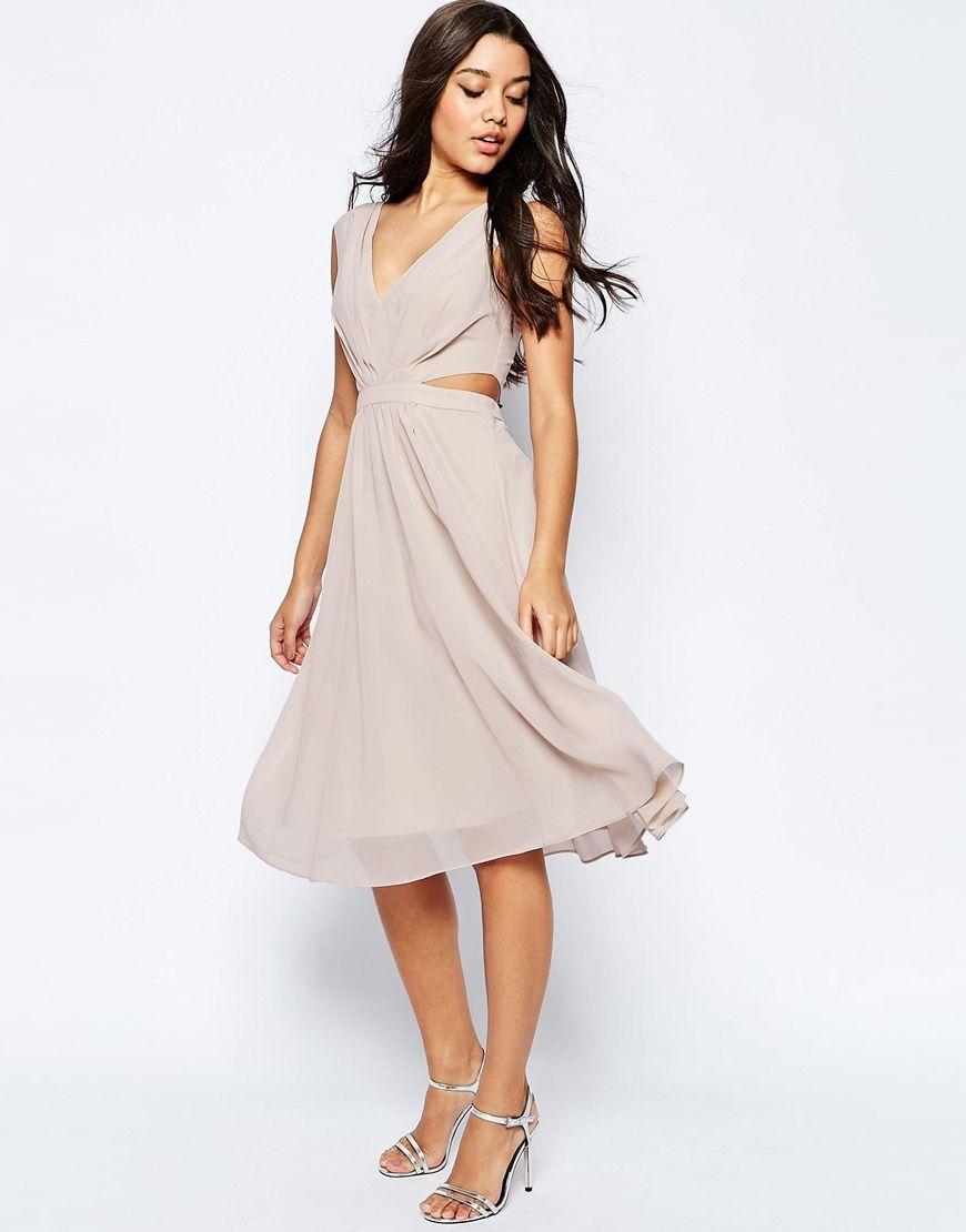 Image 1 of ASOS Side Cut Out Midi Dress | W | Pinterest | Side cuts ...