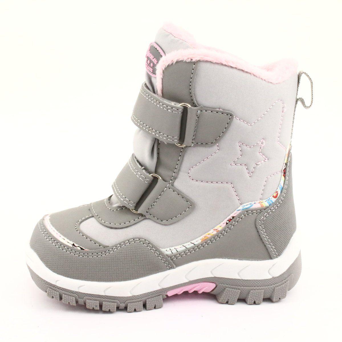 American Club Kozaki Z Membrana Rl37 Gwiazda Szare Rozowe Boots Childrens Boots Kid Shoes