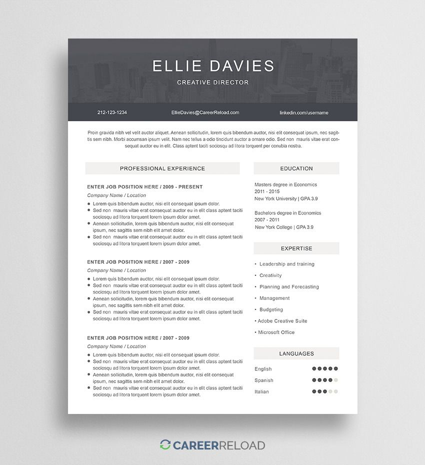 25 Resume Template Photoshop Download In 2021 Resume Template Creative Resume Template Free Best Free Resume Templates
