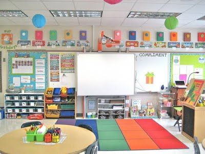 love this classroom setup! bright, cheery, simple, and organized! AND she has an OWL theme!!!