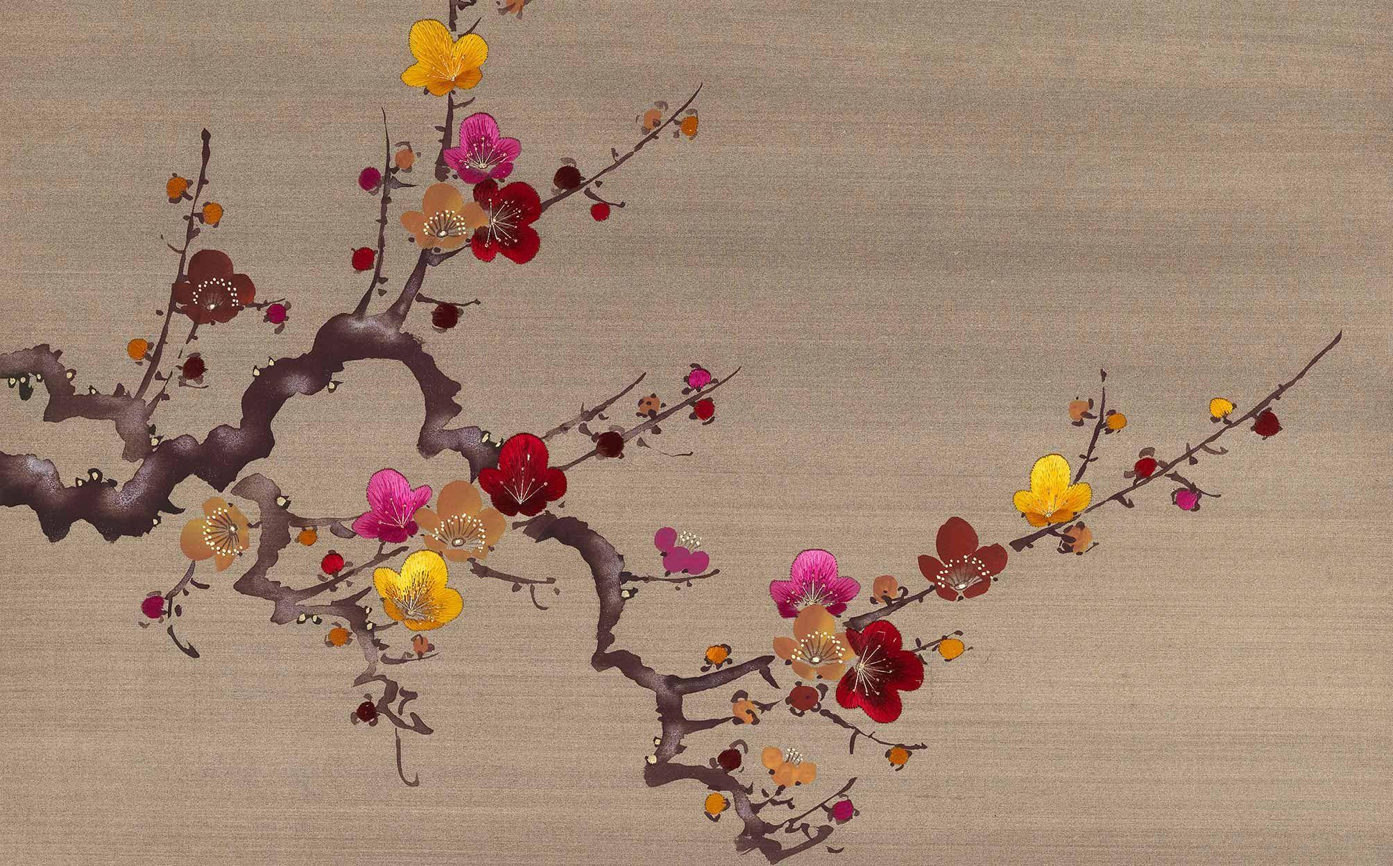prunus 20th century, Handmade Wallpaper Fromental