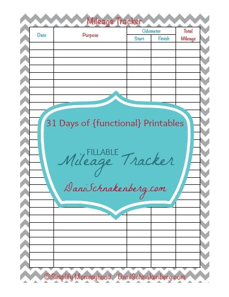 Days Of Functional Printables  Mileage Tracker  Best From