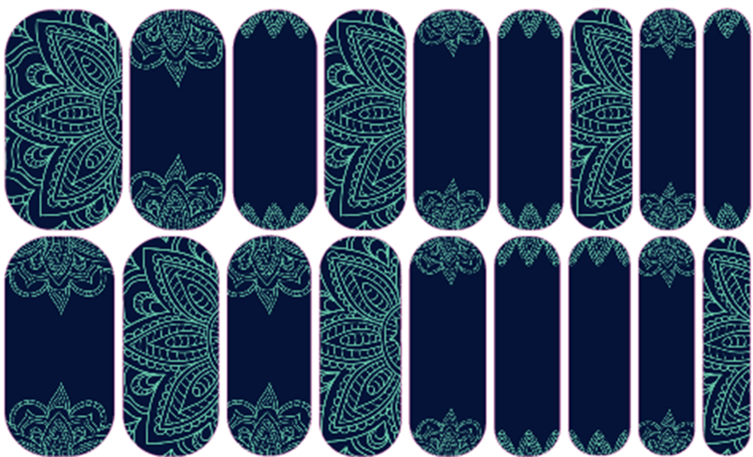 Henna Nights   Jamberry Mint green henna-inspired designs pop against cool navy in this perfect mix of classic and exotic. #jamberry #nailwraps #diymanicure #fun #beautiful #jamberrynails #joyfilledjamberry #sweet #mixedmani #girlygirl #fashion #teal #henna #exotic
