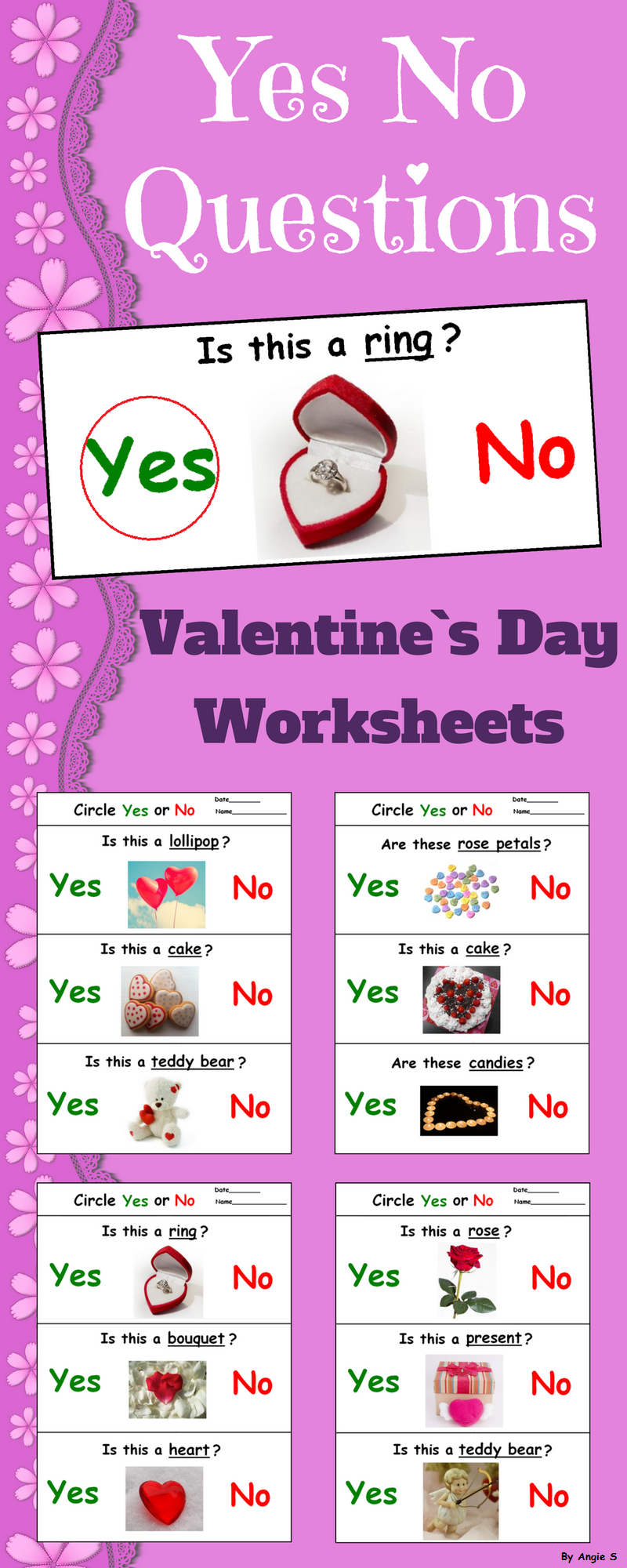 Valentine`s Day Activity for Special Education - Yes No Questions ...