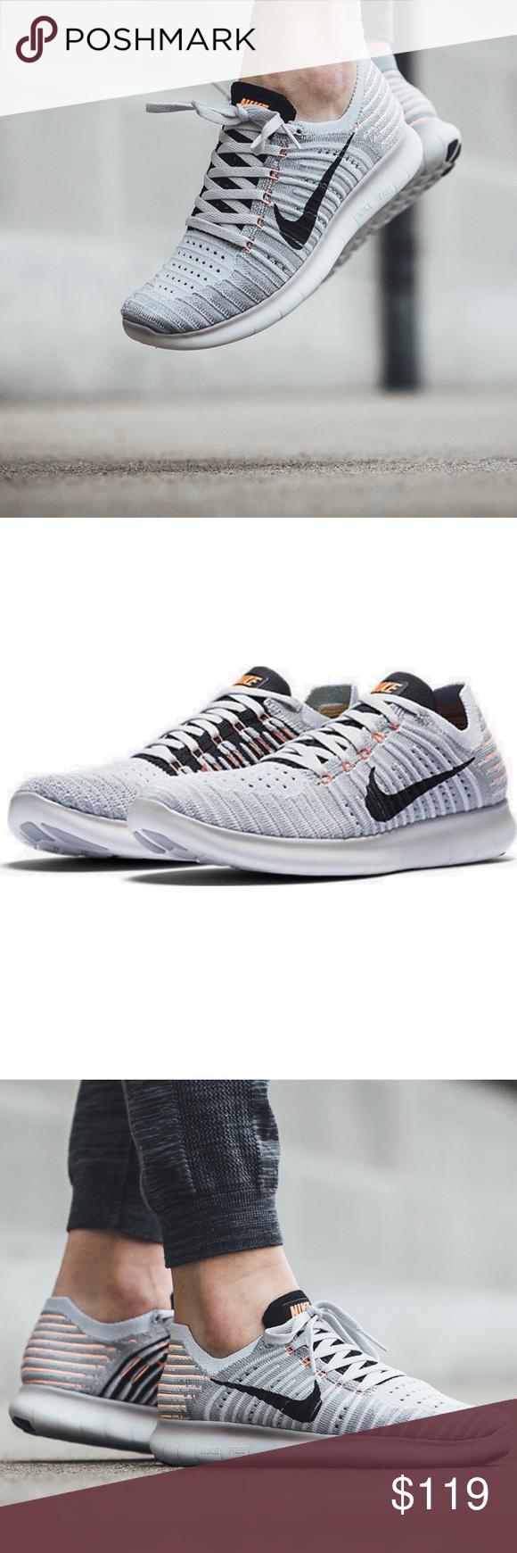 16bc87b08ffb New Nike Women s Free Run FlyKnit 831070-005 Women s Size 6 or 6.5 Wolf  Grey-Bright Mango-Pure Platinum-Black  No Original Box-Brand New  More  cushioned ...
