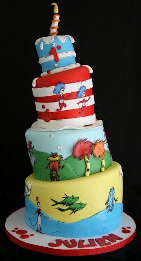 Cat in The Hat Cake Hat cake Cake and Birthdays