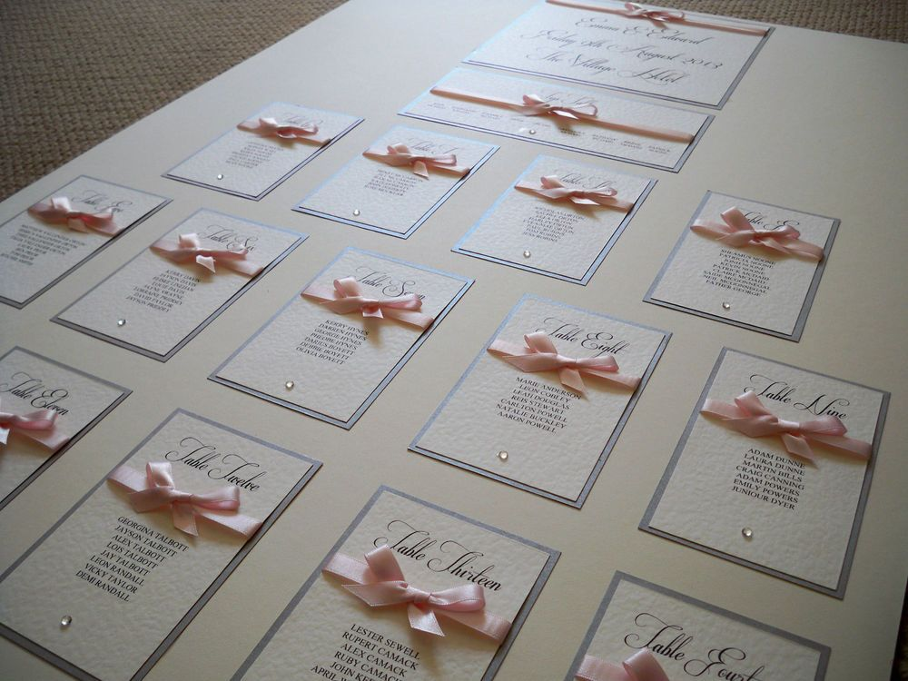 LUXURY A2 WEDDING TABLE PLAN ( Ribbons Range) Any Colours
