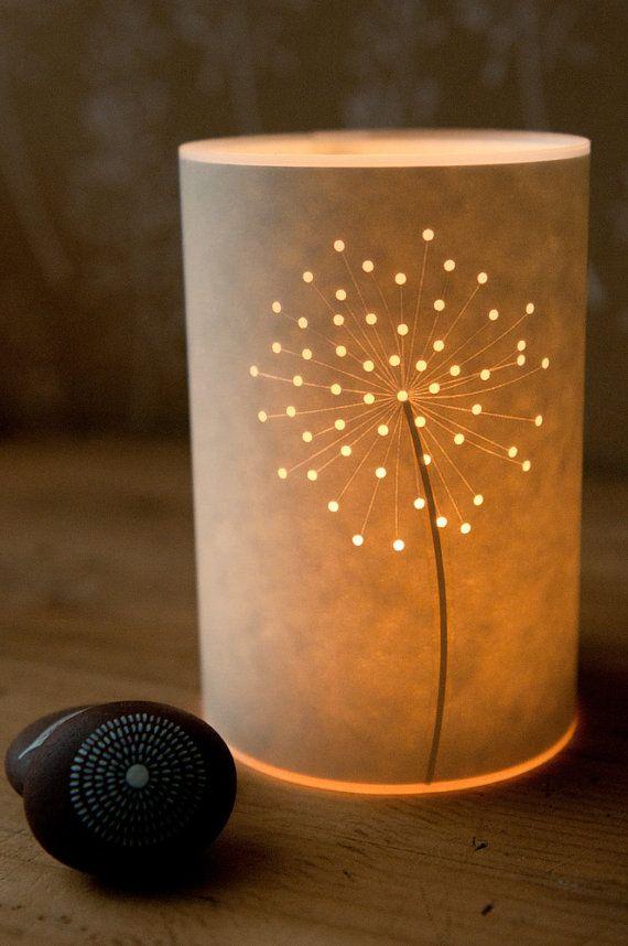 Photo of Floral Design Paper Cut Silhouette Shadow Lantern Candle Tea Light Cover / Gift Idea / Seed Head / Hannah Nunn