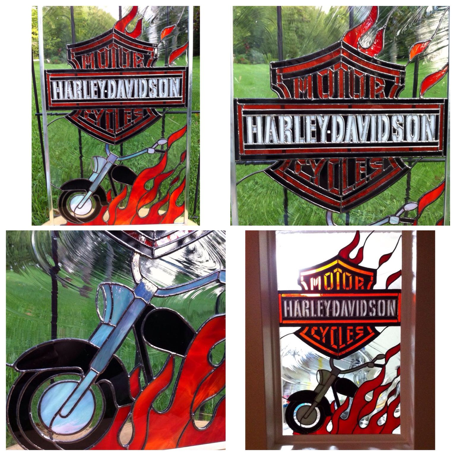 My favourite stained glass piece  Harley-Davidson bar and