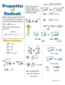 The Properties Or Radicals Are Listed With Examples Of Each Emphasis Is Placed On The Equivalence Between A Rad Radical Expressions Radicals Math Math Methods