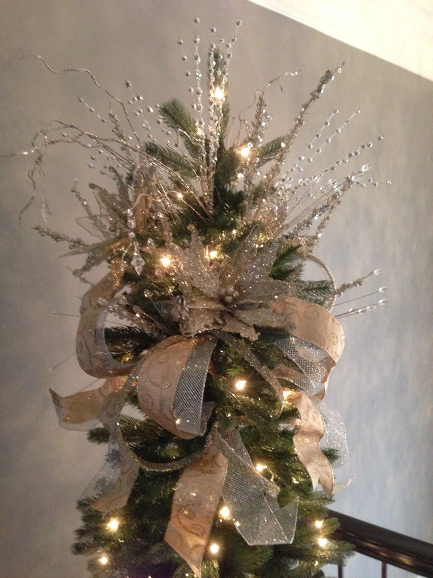 Silver And Gold Tree Topper The Little Attention To The Most Intimate Food Of The Year Diy Christmas Tree Topper Christmas Tree Bows Christmas Tree Topper Bow
