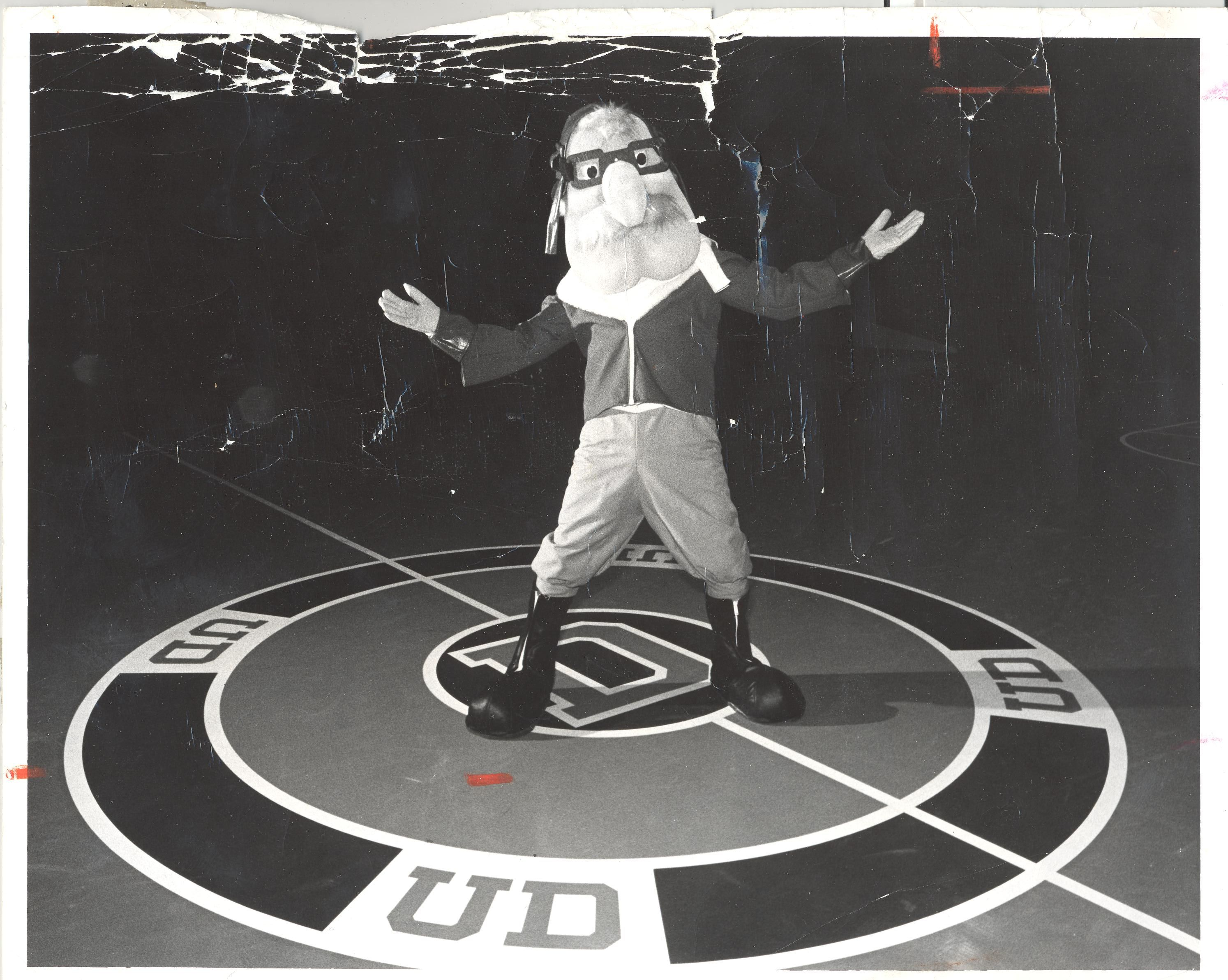 Dayton Flyers mascot, Rudy Flyer, back in the day
