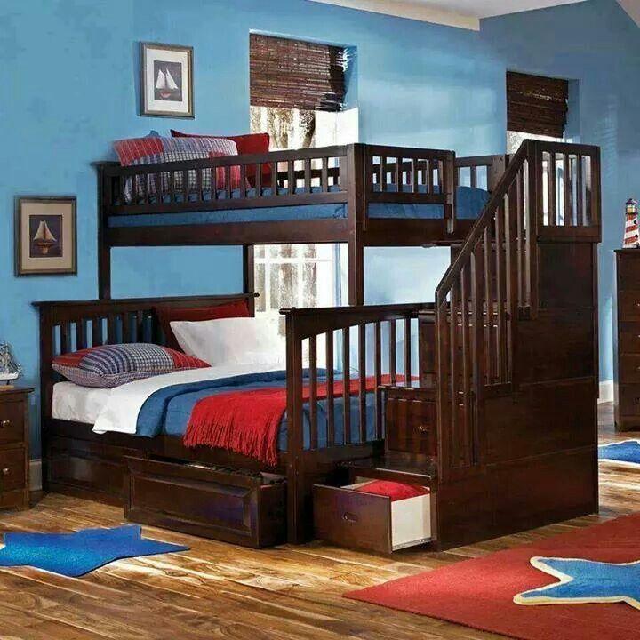 Litera con cama matrimonio abajo e individual arriba con - Literas con escaleras de cajones ...