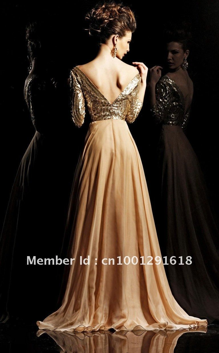 Collection Gold Evening Dresses Pictures - Reikian