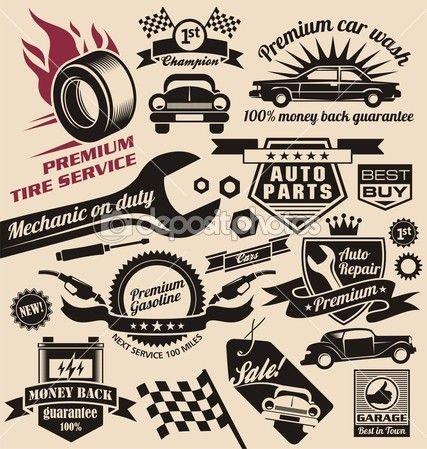 Vector Set Of Vintage Car Symbols Arte De Amrica Ideas