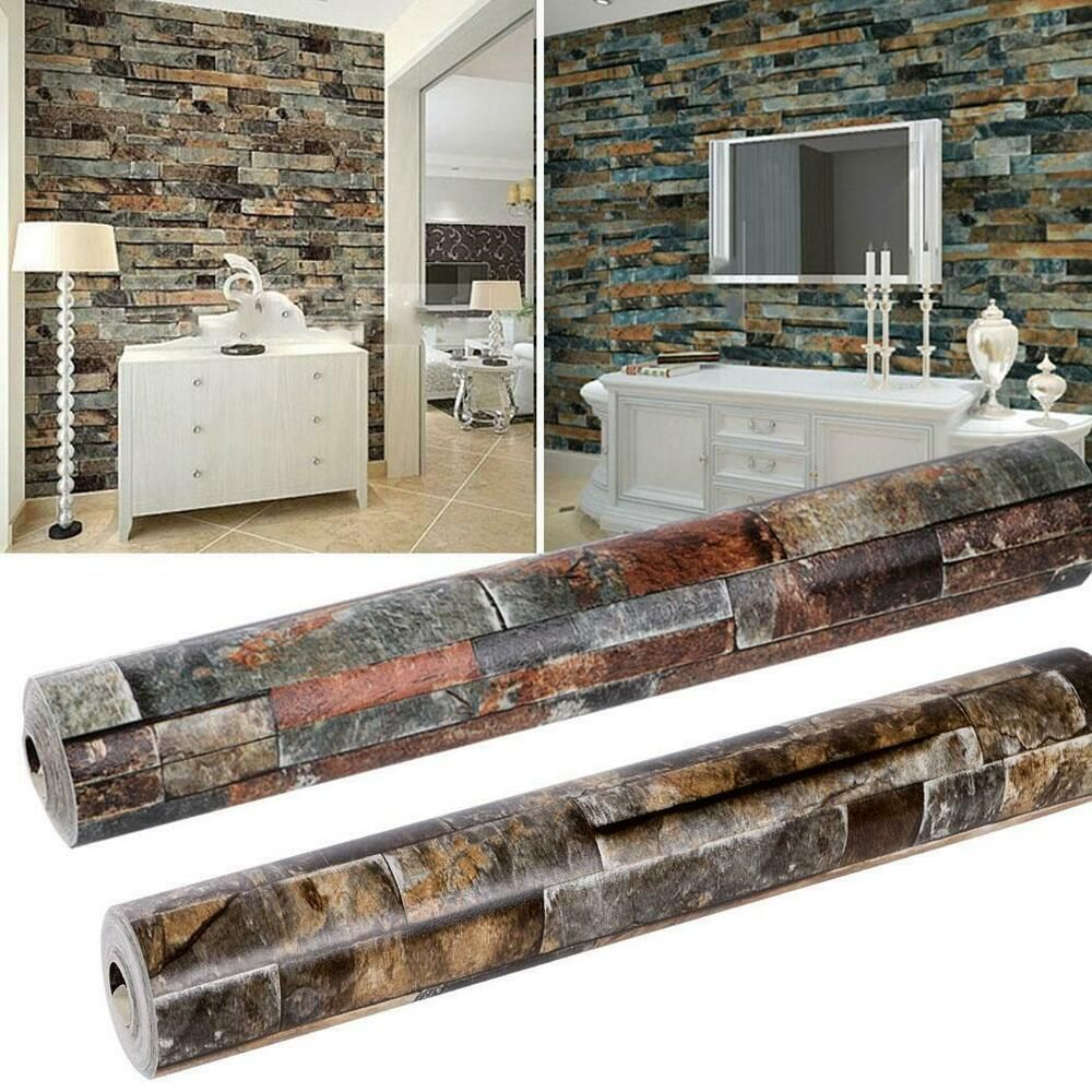 Retro 3D Effect Natural Embossed Stack Stone Brick Tile