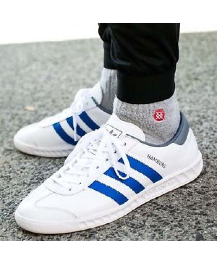 9482c54184d3 Adidas Hamburg White Blue Grey Trainers Sale