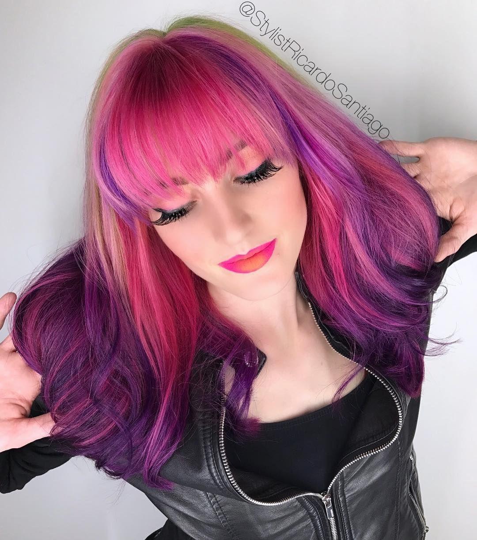 Pink & Purple Color Melt Hair Color