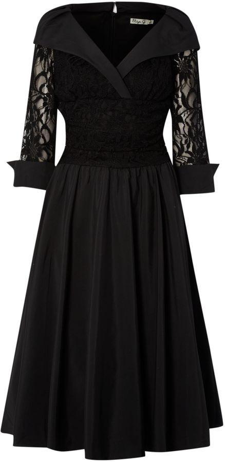 Eliza J Lace detail 3/4 sleeve ruched waist dress on ...
