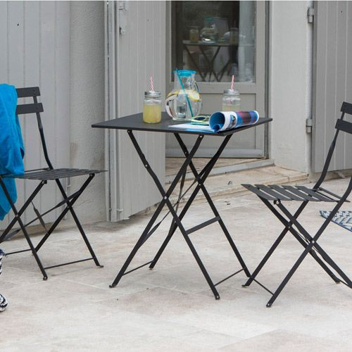 Salon de jardin table carrée 2 chaises pliantes Pop anthracite ...