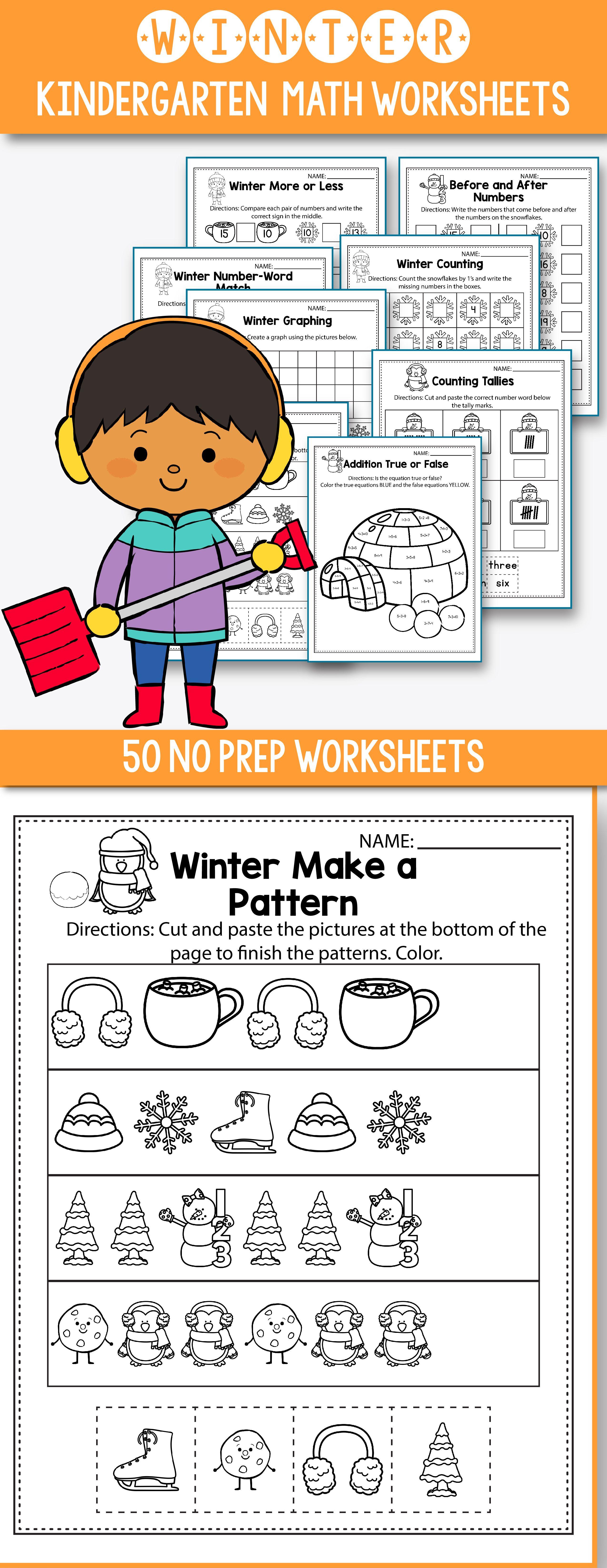 Winter Activities For Kindergarten Math No Prep