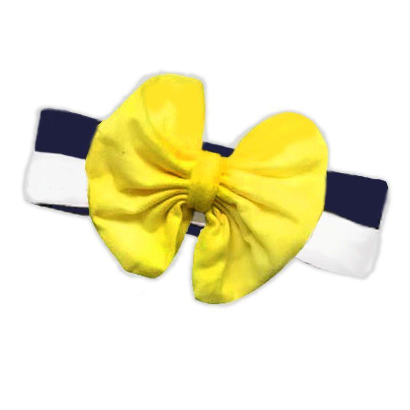 Navy Stripe Yellow Messy Bow Headband