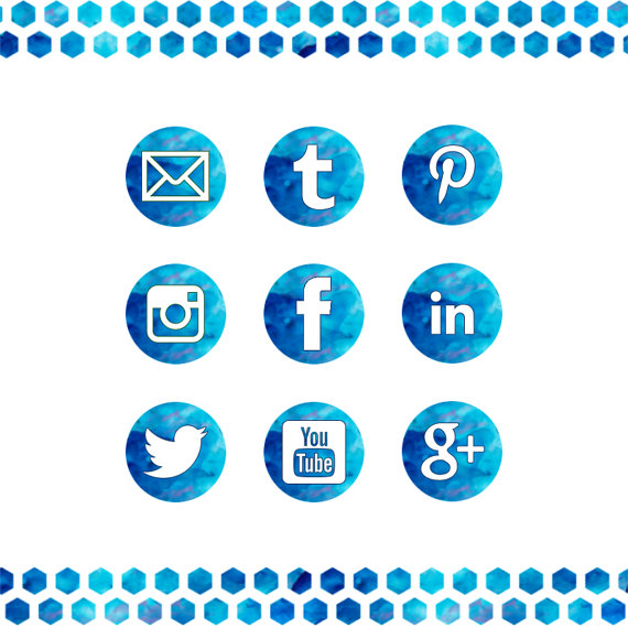 Blue Watercolor Social Media Icons Set 3 Sizes Elegant Blog